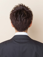 ツーブロック黒髪ビジネスショート BACKサムネイル