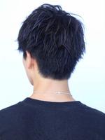黒髪 無造作 かき上げアップバングショート BACKサムネイル