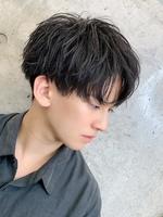 【黒髪コンママッシュ】細束 ルーズパーマ 2ブロックマッシュ SIDEサムネイル