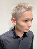 短髪 メンズヘア 刈り上げ ブリーチカラー  FRONTサムネイル
